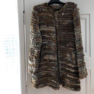 NEW Brown&beige Adrienne Landau Knit Fur Coat